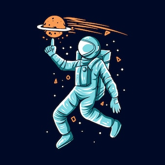 Astronaut play planet on hand space background  illustration