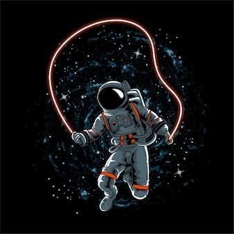宇宙飛行士がロープを弾く