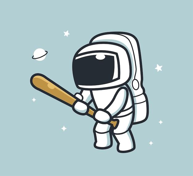 野球をしている宇宙飛行士