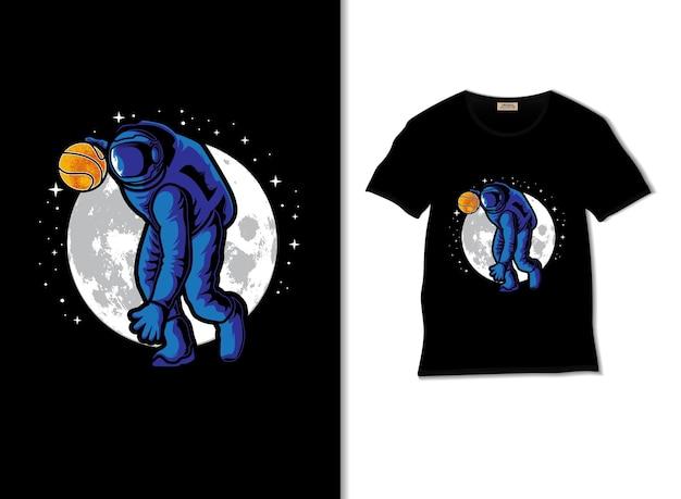 Астронавт играет в баскетбол в космосе, иллюстрация с дизайном футболки