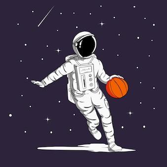 농구하는 우주 비행사