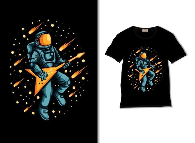 Tシャツのデザインで宇宙空間のイラストでギターを弾く宇宙飛行士
