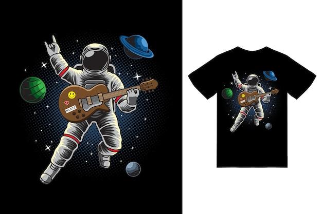 우주 비행사는 티셔츠 디자인 프리미엄 벡터를 사용하여 우주 삽화에서 기타를 연주합니다.