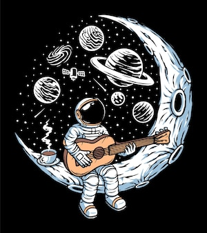 月のイラストでギターを弾く宇宙飛行士