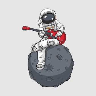 月でギターを弾く宇宙飛行士、