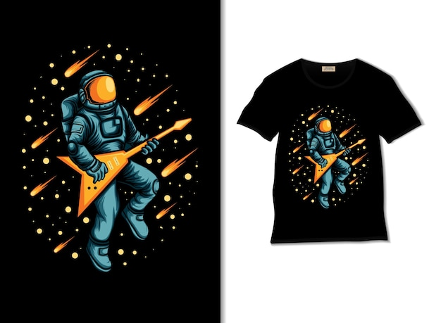 Astronaut playing guitar in outer space illustration with t shirt design