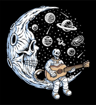 Astronaut playing guitar on skull moon