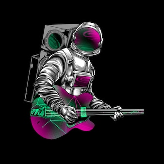 Astronaut playing guitar on space illustration