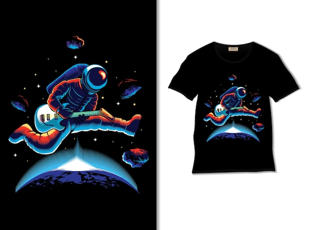 Astronaut playing guitar in space with tshirt design