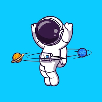 Astronaut playing hula hoop planet cartoon vector icon illustration. science technology icon concept isolated premium vector. flat cartoon style