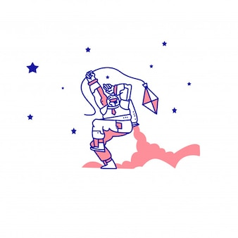 An astronaut playing a kite with a rocket on his back