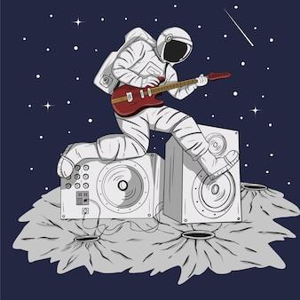 Астронавт играет музыку и гитарист векторные иллюстрации