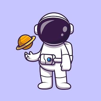 Astronauta che gioca pianeta palla fumetto vettore icona illustrazione
