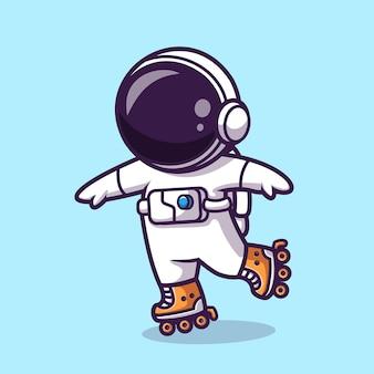 ローラースケート漫画ベクトルアイコンイラストを再生する宇宙飛行士。科学スポーツアイコンコンセプト分離プレミアムベクトル。フラット漫画スタイル