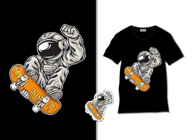 Astronaut playing skate illustration
