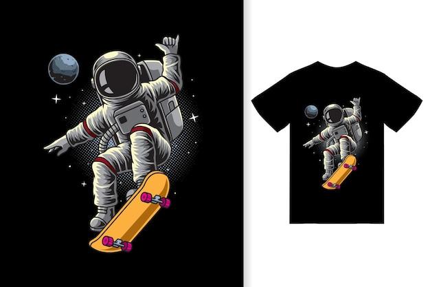 우주 비행사는 티셔츠 디자인 프리미엄 벡터를 사용하여 우주 삽화에서 스케이트보드를 하고 있습니다.
