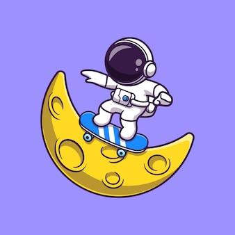 Астронавт играет на скейтборде на луне мультфильм векторные иллюстрации значок. концепция значок спорта науки изолированные premium векторы. плоский мультяшном стиле
