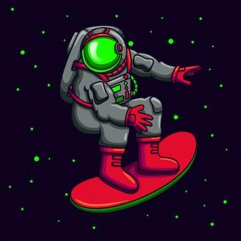 Astronaut playing skateboard