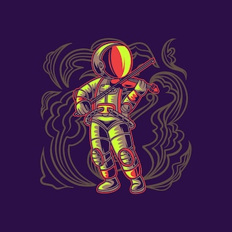 Astronaut playing the violin cool illustration