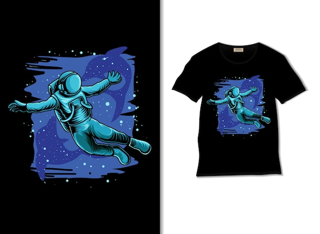 Tシャツのデザインで宇宙でイルカと遊ぶ宇宙飛行士