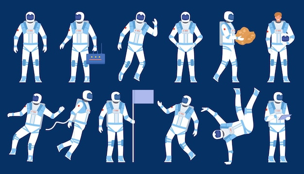 宇宙飛行士のポーズ。宇宙飛行士ダンサー、旗を掲げて立ち、宇宙に浮かぶ。宇宙飛行士のスーツとヘルメットのフラットなキャラクター。宇宙探検家のベクトルセット。イラスト宇宙飛行士と宇宙飛行士、宇宙飛行士のキャラクター