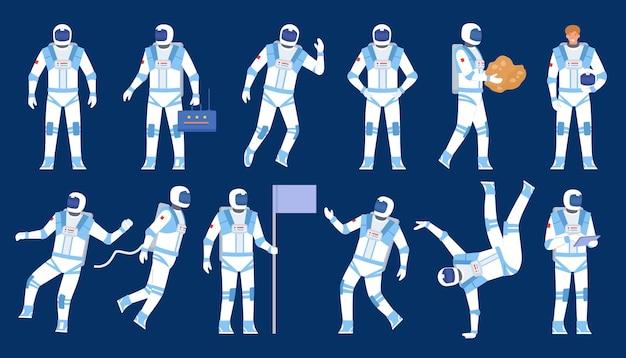 Astronaut poses. spaceman dancer, stand with flag, float in space. flat character in cosmonaut suit and helmet. cosmic explorers vector set. illustration astronaut and spaceman, cosmonaut characters
