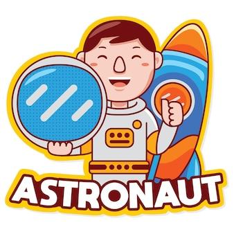 만화 스타일의 우주 비행사 직업 마스코트 로고 벡터