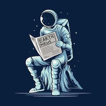 Астронавт читает земную газету на космической векторной иллюстрации