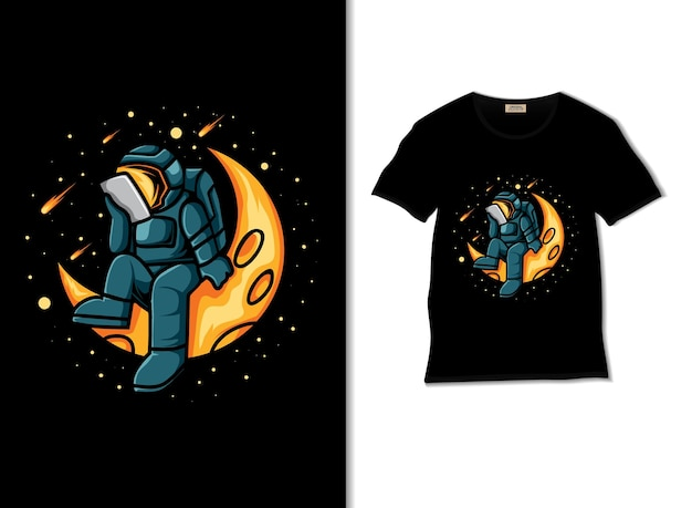 Astronaut reading in space illustration with tshirt design