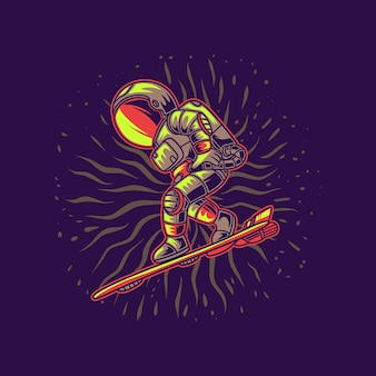 Astronaut ready for surfing illustration