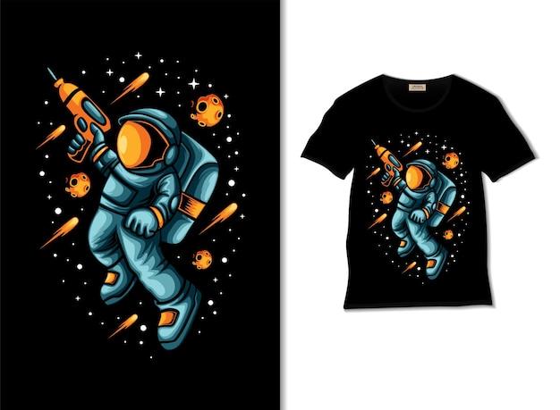 Астронавт готов к войне в космосе, иллюстрация с дизайном футболки