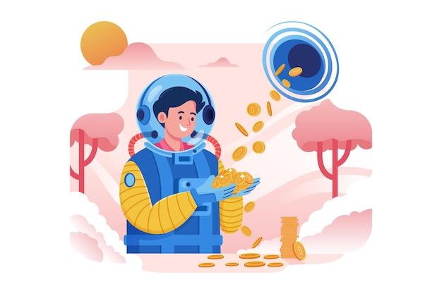 Астронавт получает золотые монеты из черной дыры