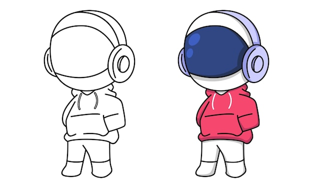 Astronaut in red jacket with headphones coloring page for kids