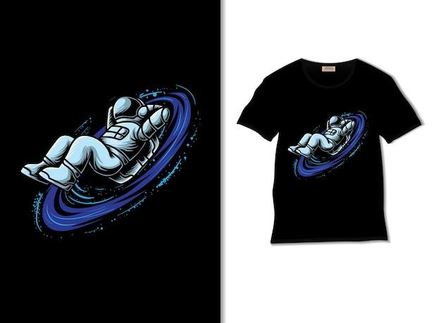 티셔츠 디자인으로 우주 삽화에서 휴식을 취하는 우주 비행사