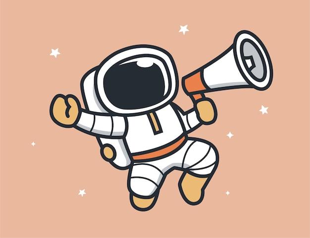 メガホンで情報を中継する宇宙飛行士