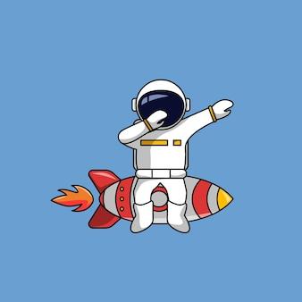 宇宙飛行士は、軽くたたくポーズの漫画のベクトル図でロケットを取り除く