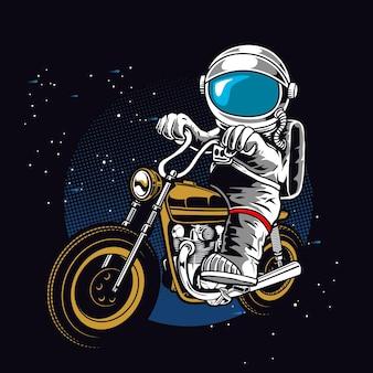 宇宙飛行士がバイクに乗る