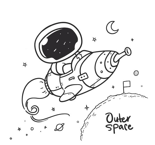 Космонавт летит на ракете в космосе