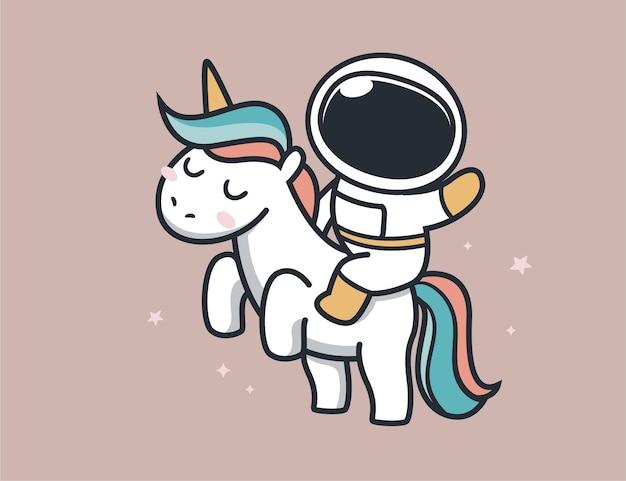宇宙飛行士はユニコーンの馬に乗る