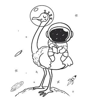 Космонавт едет на страусе в космос