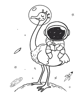 Astronaut rides an ostrich in space