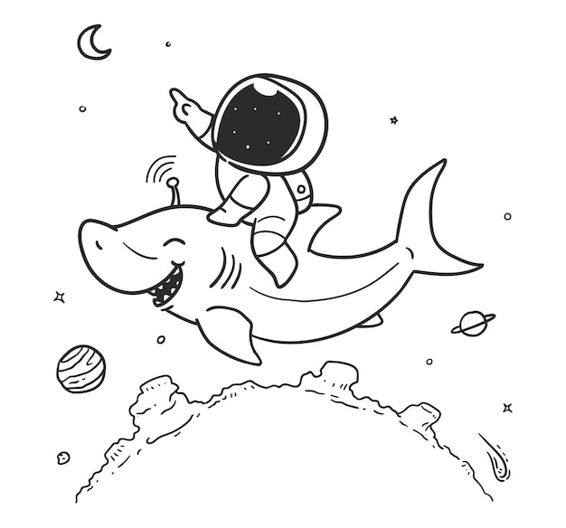 Astronaut rides a shark in space