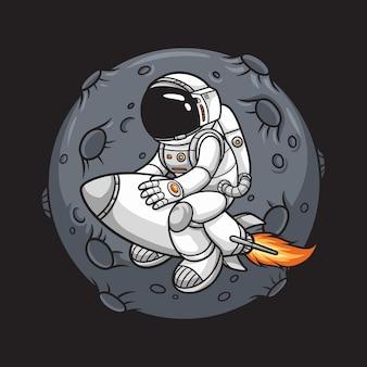 ロケットと背景の月に乗る宇宙飛行士、