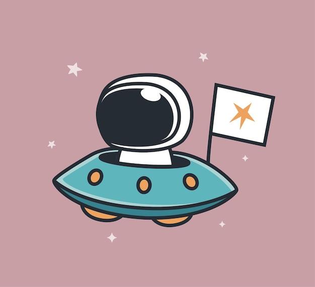 旗を持ってufoに乗る宇宙飛行士