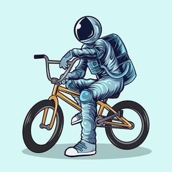 Астронавт, езда на велосипедах bmx векторные иллюстрации дизайн