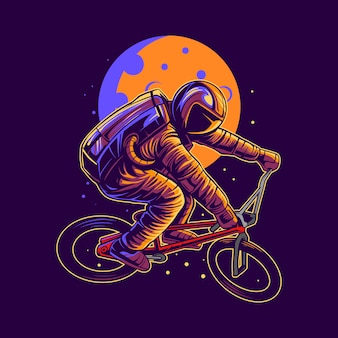 Astronaut riding bmx on space   illustration