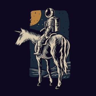 Астронавт верхом на лошади векторные иллюстрации дизайн