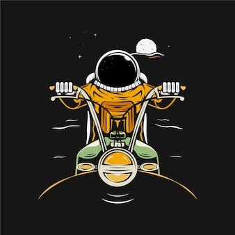 Astronaut riding motorcycle cartoon illustration