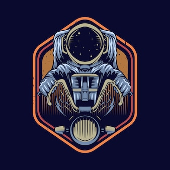 Astronaut riding motorcycle   illustration emblem design