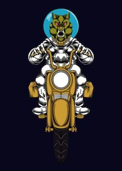 宇宙飛行士のバイクのイラストに乗る